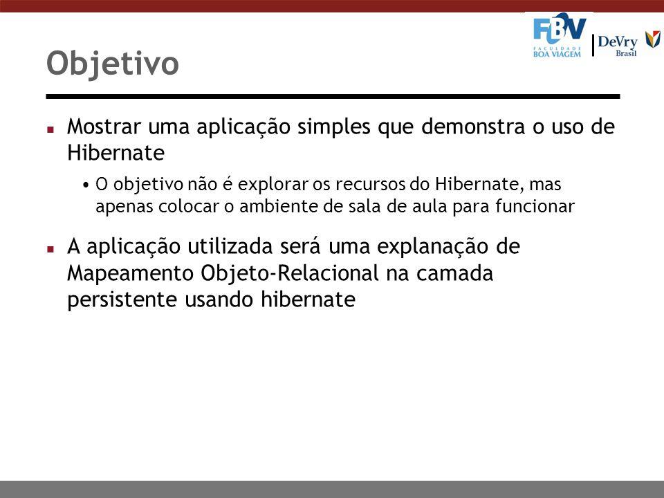 Objetivo n Mostrar uma aplicação simples que demonstra o uso de Hibernate O objetivo não é explorar os recursos do Hibernate, mas apenas colocar o amb