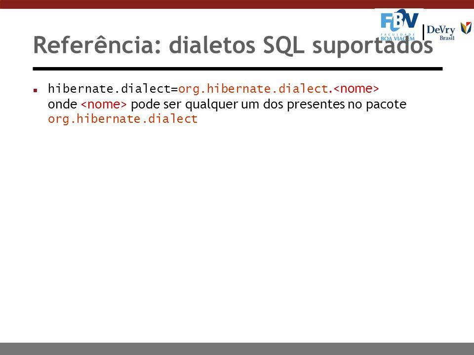 Referência: dialetos SQL suportados hibernate.dialect=org.hibernate.dialect. onde pode ser qualquer um dos presentes no pacote org.hibernate.dialect