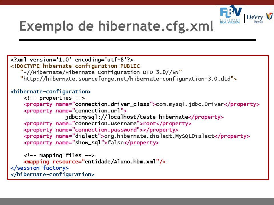 Exemplo de hibernate.cfg.xml <!DOCTYPE hibernate-configuration PUBLIC -//Hibernate/Hibernate Configuration DTD 3.0//EN http://hibernate.sourceforge.net/hibernate-configuration-3.0.dtd > com.mysql.jdbc.Driver jdbc:mysql://localhost/teste_hibernate root org.hibernate.dialect.MySQLDialect false
