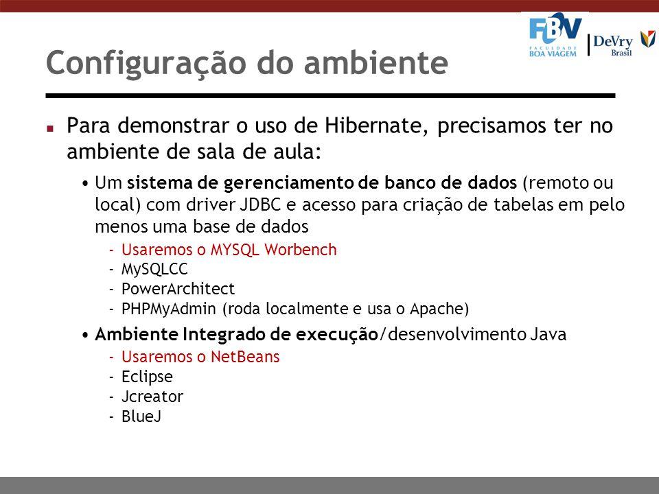 Configuração do ambiente n Para demonstrar o uso de Hibernate, precisamos ter no ambiente de sala de aula: Um sistema de gerenciamento de banco de dados (remoto ou local) com driver JDBC e acesso para criação de tabelas em pelo menos uma base de dados -Usaremos o MYSQL Worbench -MySQLCC -PowerArchitect -PHPMyAdmin (roda localmente e usa o Apache) Ambiente Integrado de execução/desenvolvimento Java -Usaremos o NetBeans -Eclipse -Jcreator -BlueJ