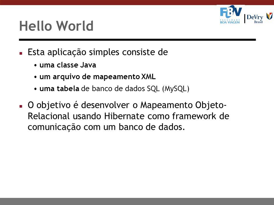Hello World n Esta aplicação simples consiste de uma classe Java um arquivo de mapeamento XML uma tabela de banco de dados SQL (MySQL) n O objetivo é desenvolver o Mapeamento Objeto- Relacional usando Hibernate como framework de comunicação com um banco de dados.