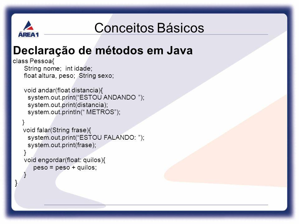 Conceitos Básicos Declaração de métodos em Java class Pessoa{ String nome; int idade; float altura, peso; String sexo; void andar(float distancia){ system.out.print( ESTOU ANDANDO ); system.out.print(distancia); system.out.println( METROS ); } void falar(String frase){ system.out.print( ESTOU FALANDO: ); system.out.print(frase); } void engordar(float: quilos){ peso = peso + quilos; }