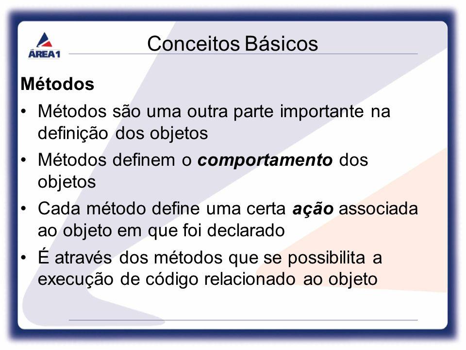 Conceitos Básicos Métodos Métodos são uma outra parte importante na definição dos objetos Métodos definem o comportamento dos objetos Cada método define uma certa ação associada ao objeto em que foi declarado É através dos métodos que se possibilita a execução de código relacionado ao objeto