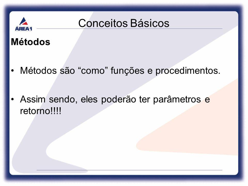 Conceitos Básicos Métodos Métodos são como funções e procedimentos.