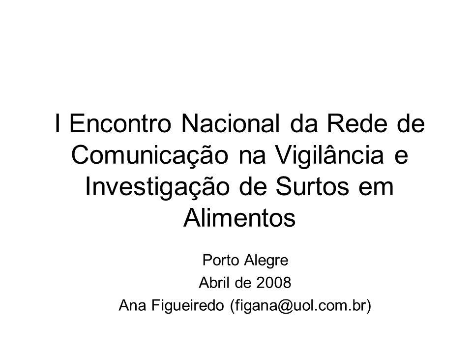 I Encontro Nacional da Rede de Comunicação na Vigilância e Investigação de Surtos em Alimentos Porto Alegre Abril de 2008 Ana Figueiredo (figana@uol.c