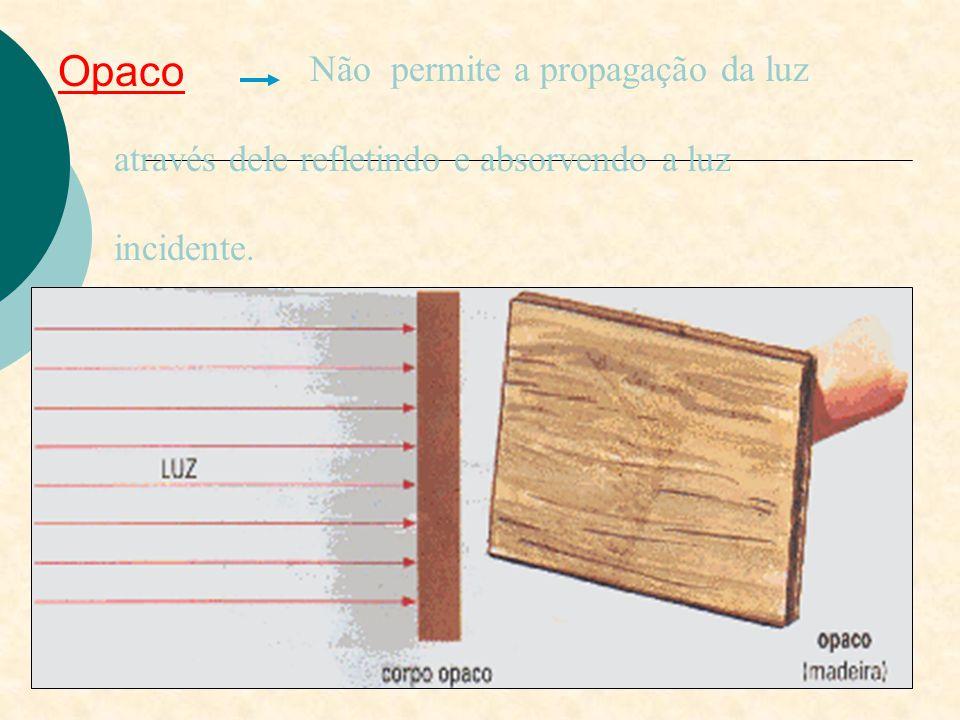 Translúcido Permite a propagação da luz mas distorcendo a imagem do objeto como mostra a figura abaixo.