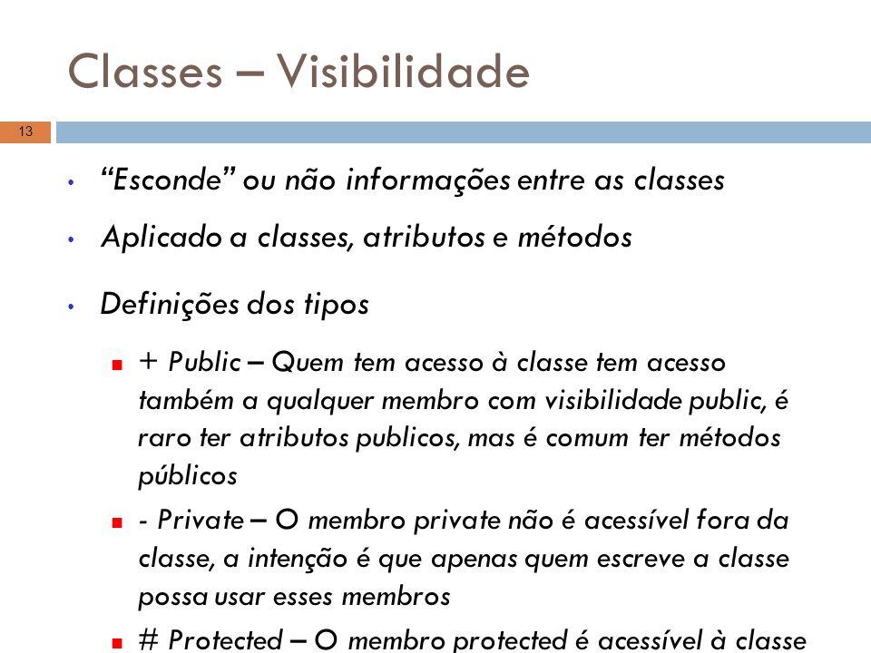 """Classes – Visibilidade """"Esconde"""" ou não informações entre as classes Aplicado a classes, atributos e métodos Definições dos tipos + Public – Quem tem"""