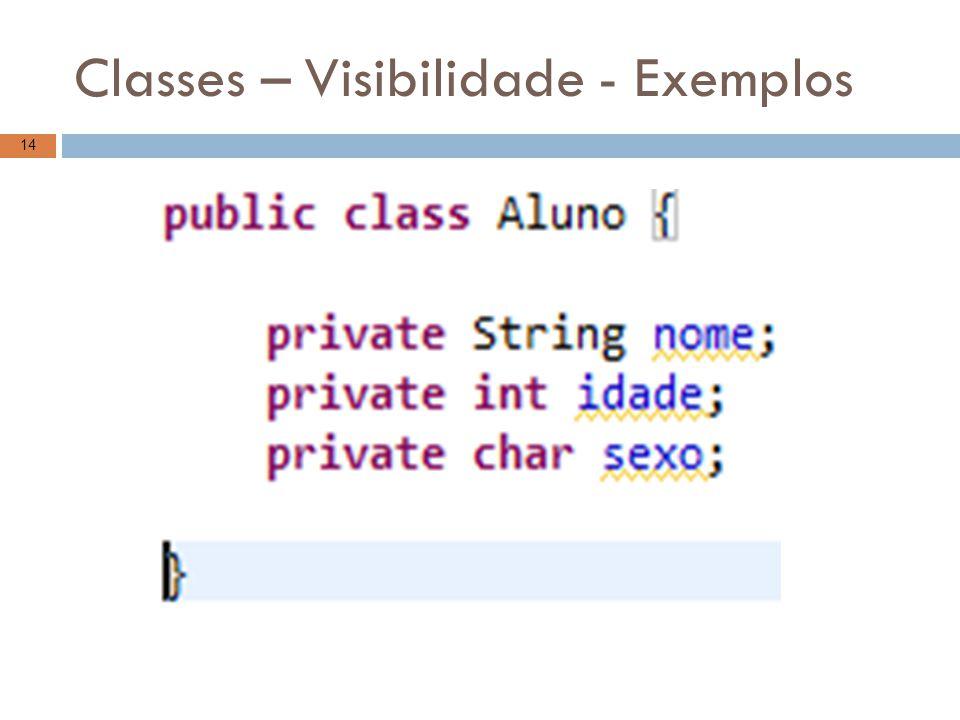 Classes – Visibilidade - Exemplos 14