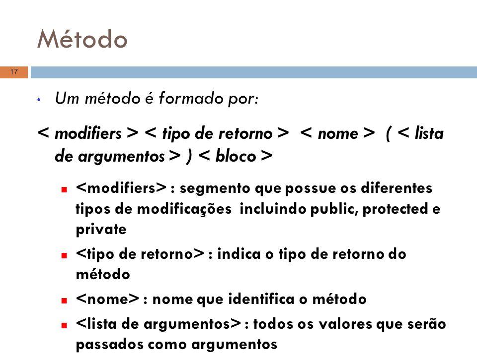 Método Um método é formado por: ( ) : segmento que possue os diferentes tipos de modificações incluindo public, protected e private : indica o tipo de