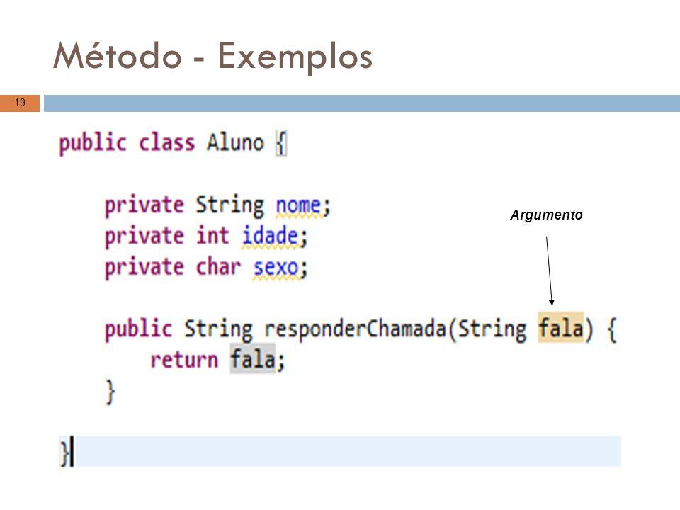 Método - Exemplos 19 Argumento