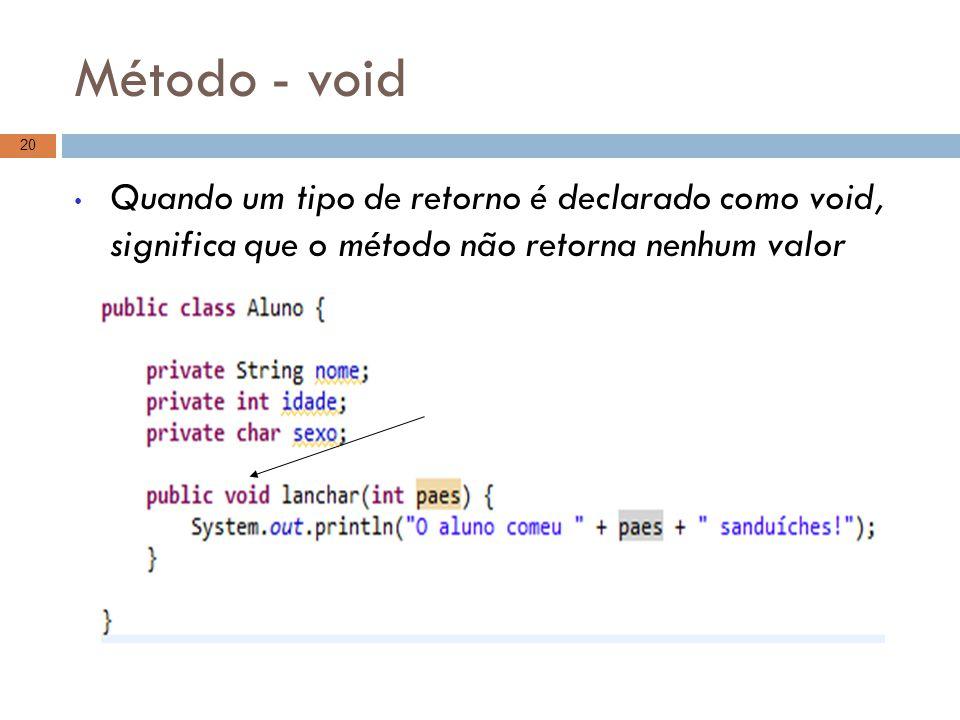 Método - void Quando um tipo de retorno é declarado como void, significa que o método não retorna nenhum valor 20