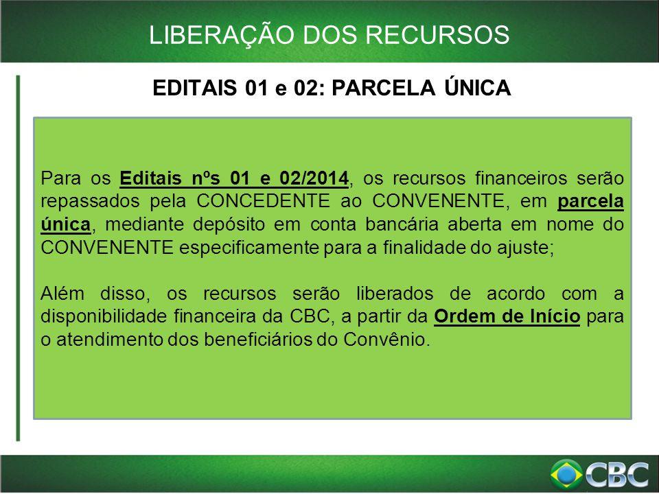 LIBERAÇÃO DOS RECURSOS EDITAIS 01 e 02: PARCELA ÚNICA Para os Editais nºs 01 e 02/2014, os recursos financeiros serão repassados pela CONCEDENTE ao CO