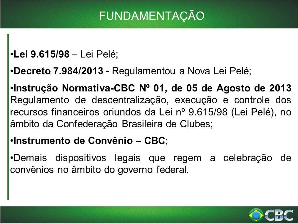 FUNDAMENTAÇÃO Lei 9.615/98 – Lei Pelé; Decreto 7.984/2013 - Regulamentou a Nova Lei Pelé; Instrução Normativa-CBC Nº 01, de 05 de Agosto de 2013 Regul