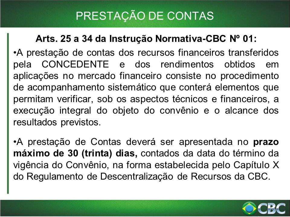 PRESTAÇÃO DE CONTAS Arts. 25 a 34 da Instrução Normativa-CBC Nº 01: A prestação de contas dos recursos financeiros transferidos pela CONCEDENTE e dos