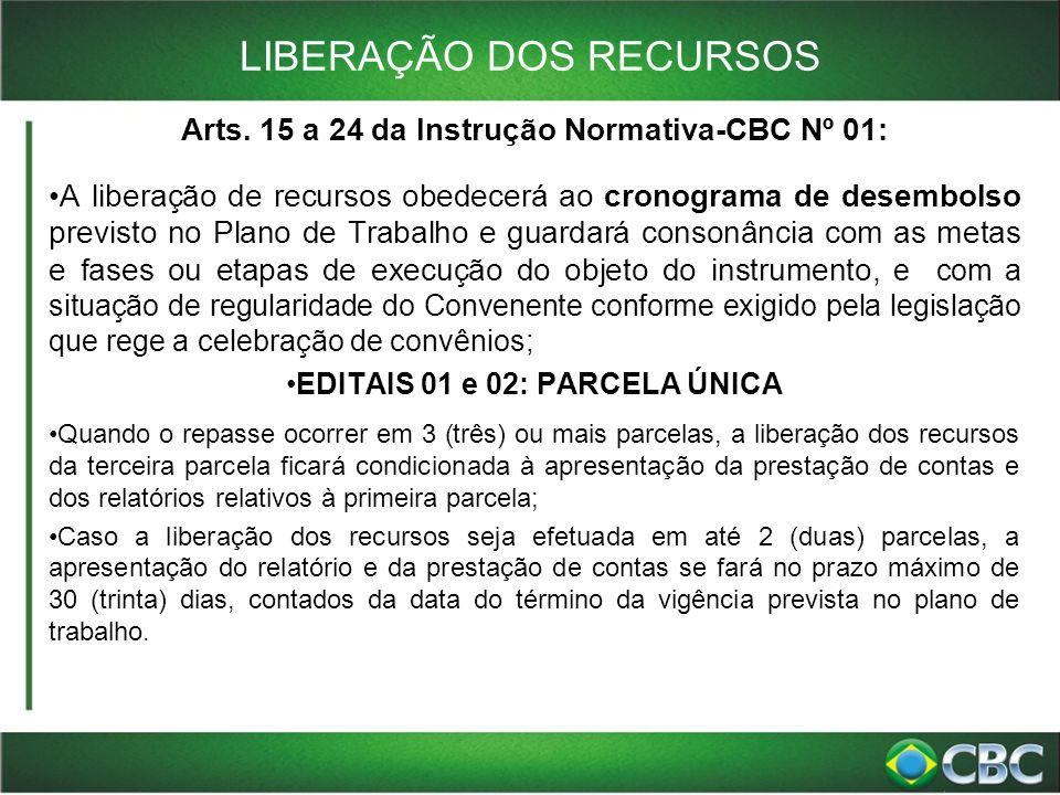 LIBERAÇÃO DOS RECURSOS Arts. 15 a 24 da Instrução Normativa-CBC Nº 01: A liberação de recursos obedecerá ao cronograma de desembolso previsto no Plano