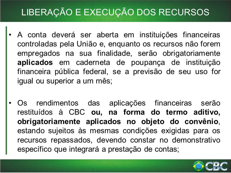 LIBERAÇÃO E EXECUÇÃO DOS RECURSOS A conta deverá ser aberta em instituições financeiras controladas pela União e, enquanto os recursos não forem empre