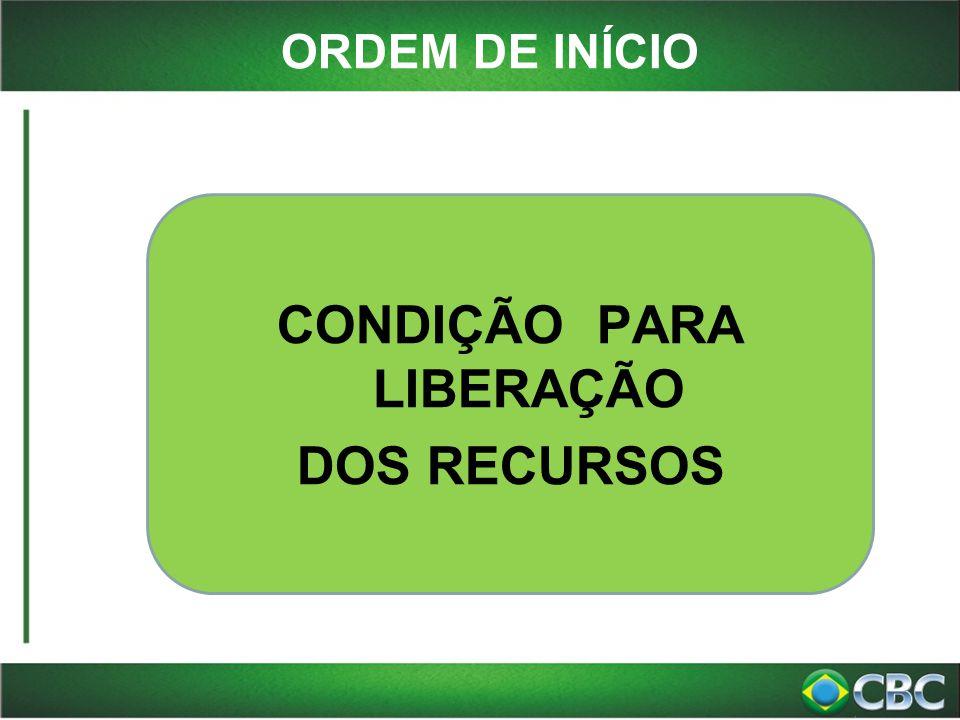 ORDEM DE INÍCIO CONDIÇÃO PARA LIBERAÇÃO DOS RECURSOS