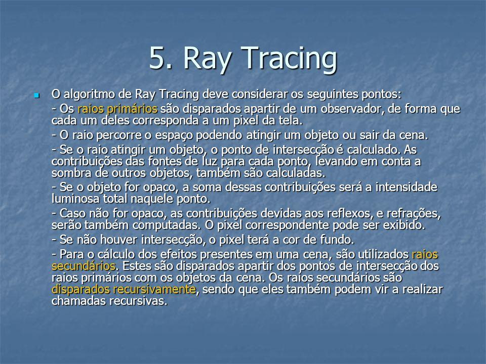 5. Ray Tracing O algoritmo de Ray Tracing deve considerar os seguintes pontos: O algoritmo de Ray Tracing deve considerar os seguintes pontos: - Os ra