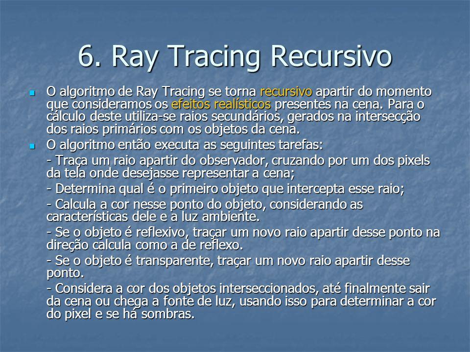 6. Ray Tracing Recursivo O algoritmo de Ray Tracing se torna recursivo apartir do momento que consideramos os efeitos realísticos presentes na cena. P