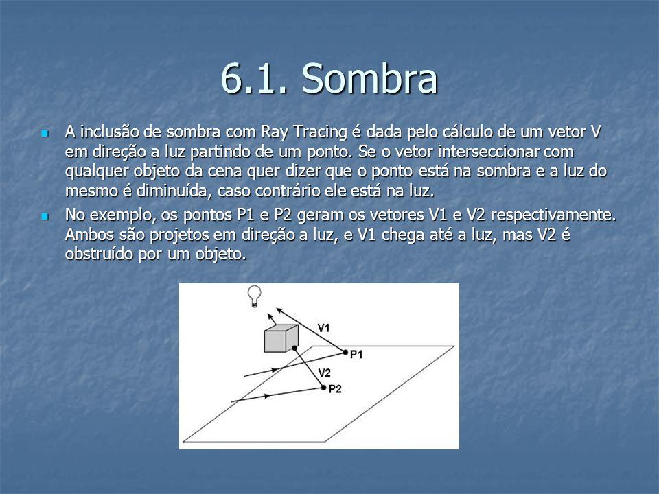 6.1. Sombra A inclusão de sombra com Ray Tracing é dada pelo cálculo de um vetor V em direção a luz partindo de um ponto. Se o vetor interseccionar co