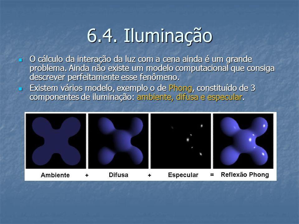 6.4.Iluminação O cálculo da interação da luz com a cena ainda é um grande problema.