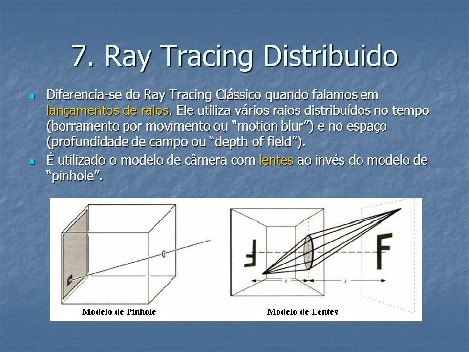7. Ray Tracing Distribuido Diferencia-se do Ray Tracing Clássico quando falamos em lançamentos de raios. Ele utiliza vários raios distribuídos no temp