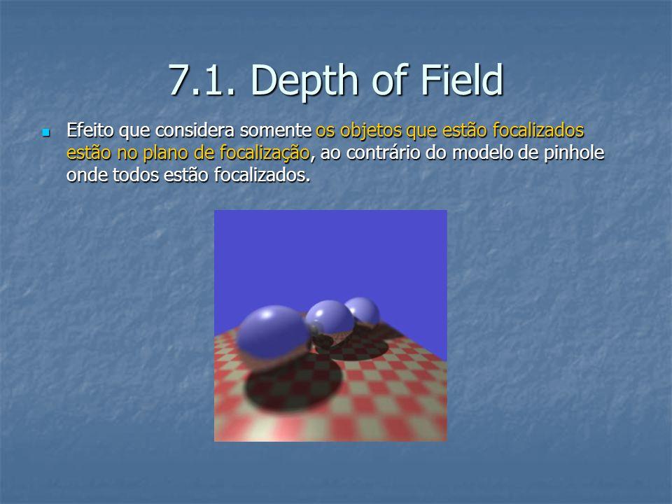 7.1. Depth of Field Efeito que considera somente os objetos que estão focalizados estão no plano de focalização, ao contrário do modelo de pinhole ond