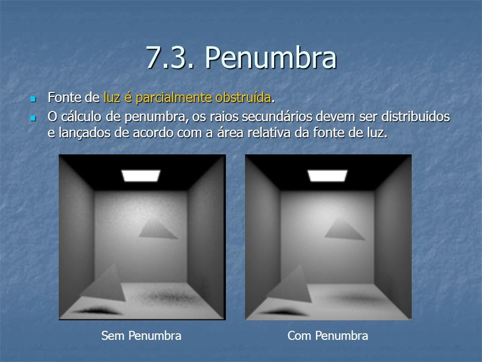 7.3. Penumbra Fonte de luz é parcialmente obstruída. Fonte de luz é parcialmente obstruída. O cálculo de penumbra, os raios secundários devem ser dist