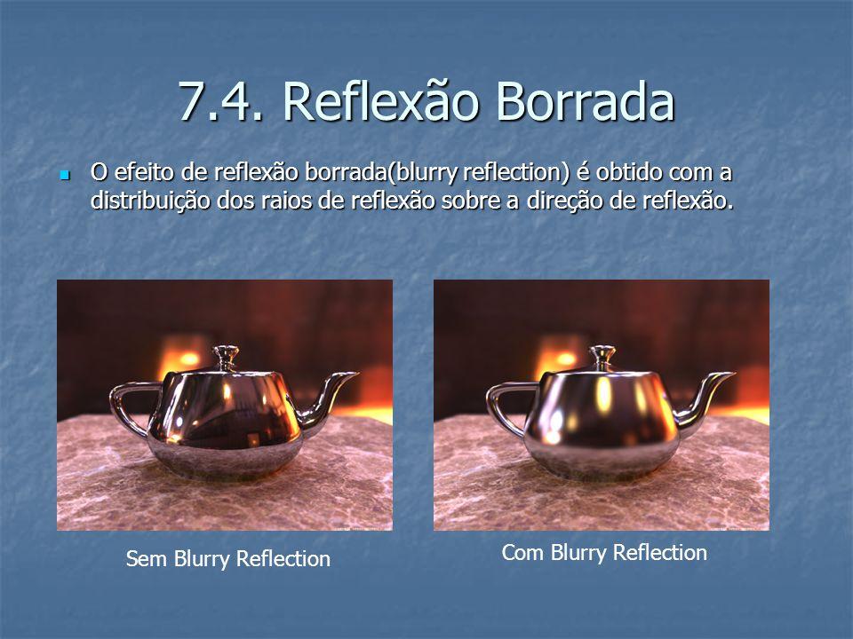7.4. Reflexão Borrada O efeito de reflexão borrada(blurry reflection) é obtido com a distribuição dos raios de reflexão sobre a direção de reflexão. O