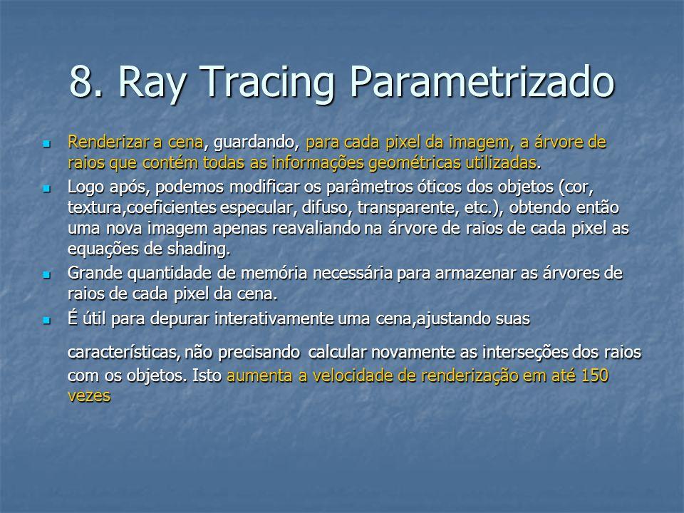 8. Ray Tracing Parametrizado Renderizar a cena, guardando, para cada pixel da imagem, a árvore de raios que contém todas as informações geométricas ut