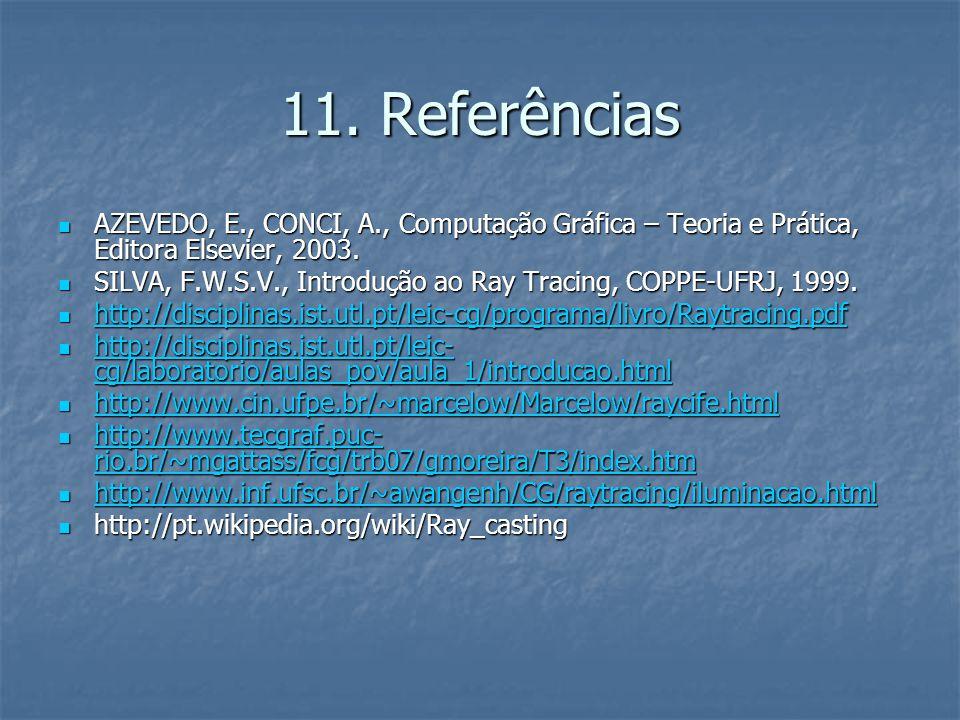 11. Referências AZEVEDO, E., CONCI, A., Computação Gráfica – Teoria e Prática, Editora Elsevier, 2003. AZEVEDO, E., CONCI, A., Computação Gráfica – Te