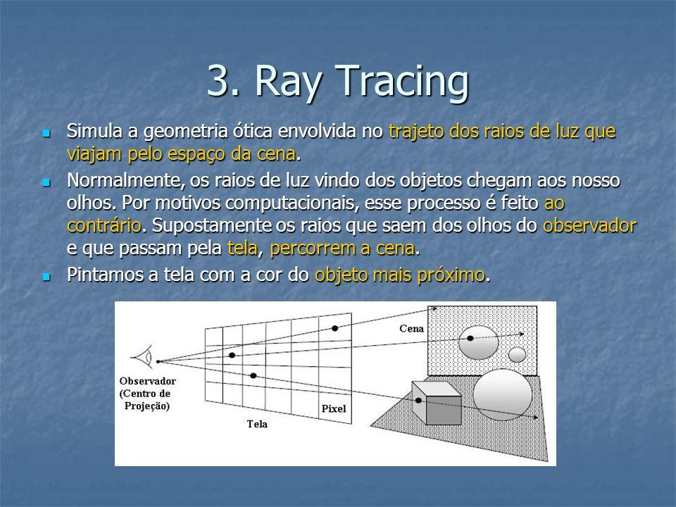 3. Ray Tracing Simula a geometria ótica envolvida no trajeto dos raios de luz que viajam pelo espaço da cena. Simula a geometria ótica envolvida no tr