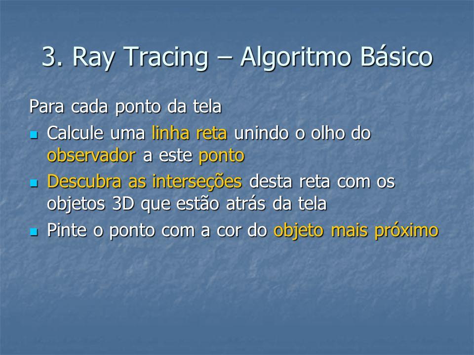 3. Ray Tracing – Algoritmo Básico Para cada ponto da tela Calcule uma linha reta unindo o olho do observador a este ponto Calcule uma linha reta unind