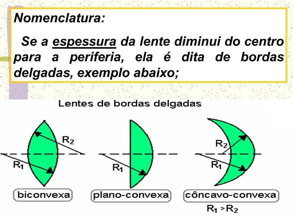 C 1 e C 2 - centros de curvatura das faces da lente; R - raios de curvatura das faces da lente; V 1 e V 2 - vértices das faces; e - espessura da lente; O - centro óptico da lente; E.P.