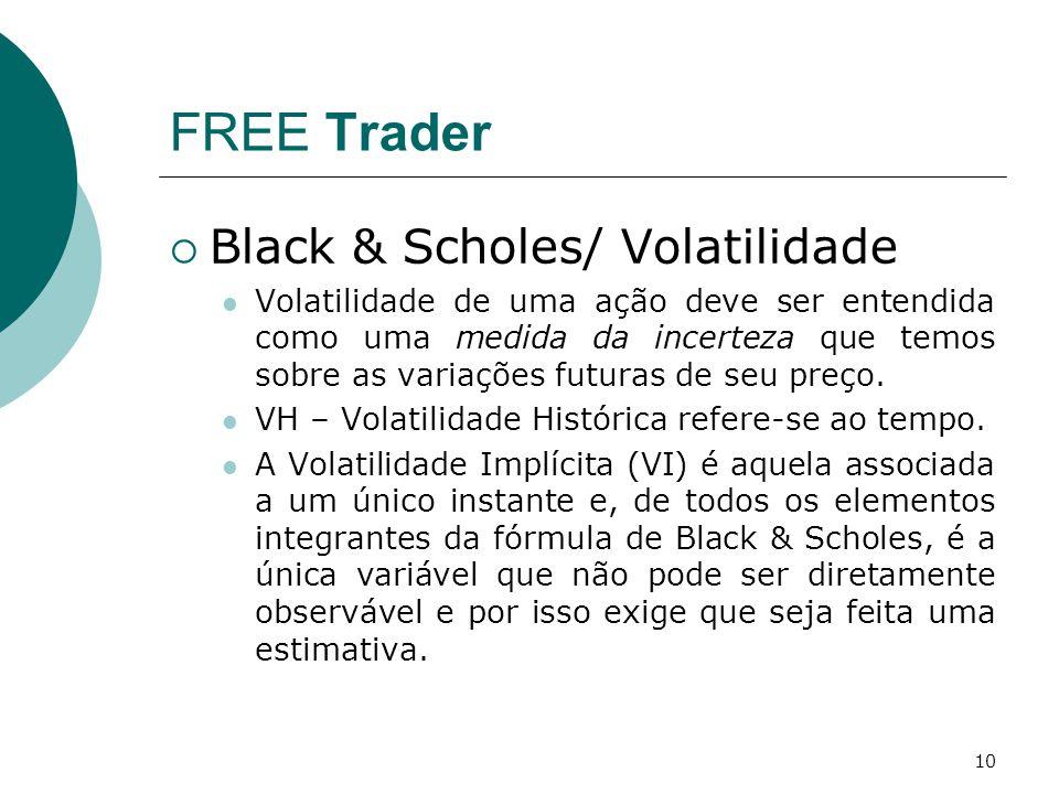 10 FREE Trader  Black & Scholes/ Volatilidade Volatilidade de uma ação deve ser entendida como uma medida da incerteza que temos sobre as variações futuras de seu preço.