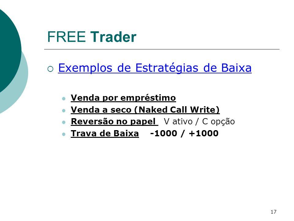 17 FREE Trader  Exemplos de Estratégias de Baixa Venda por empréstimo Venda a seco (Naked Call Write) Reversão no papel V ativo / C opção Trava de Ba