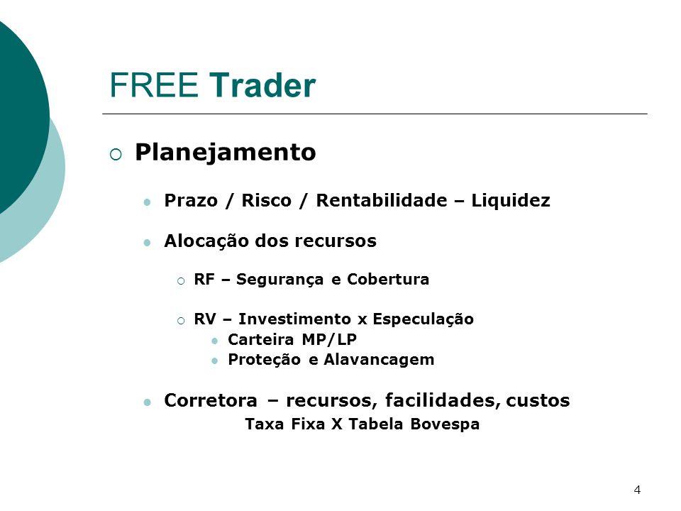 4 FREE Trader  Planejamento Prazo / Risco / Rentabilidade – Liquidez Alocação dos recursos  RF – Segurança e Cobertura  RV – Investimento x Especulação Carteira MP/LP Proteção e Alavancagem Corretora – recursos, facilidades, custos Taxa Fixa X Tabela Bovespa