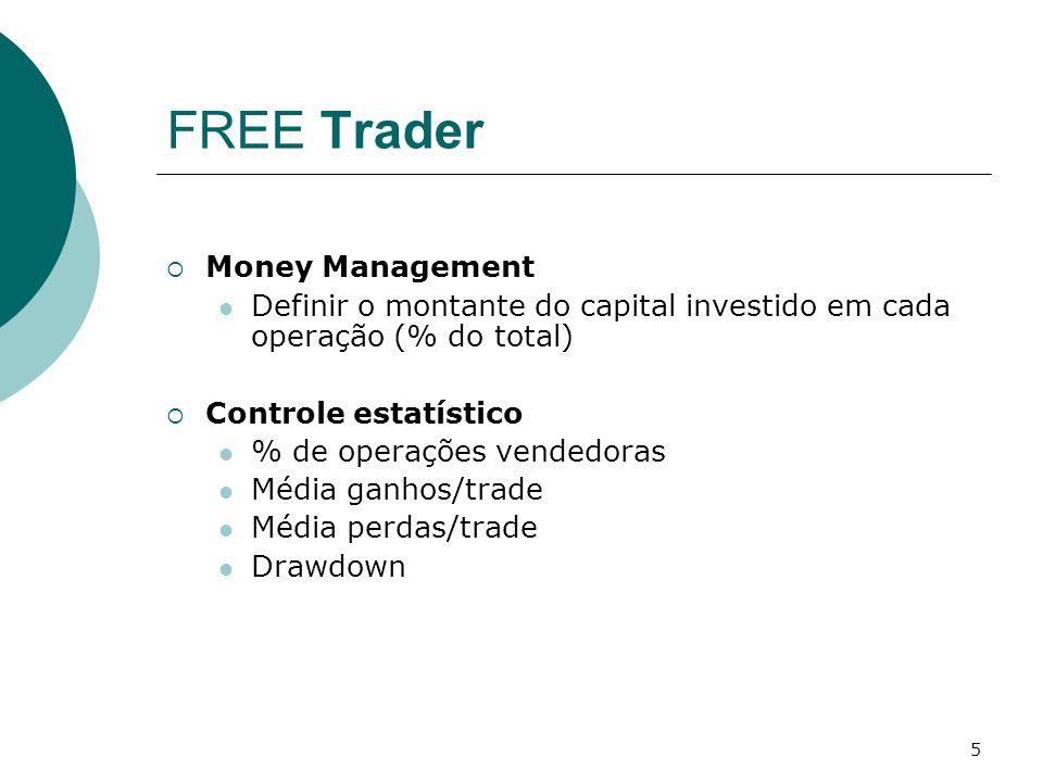 5 FREE Trader  Money Management Definir o montante do capital investido em cada operação (% do total)  Controle estatístico % de operações vendedoras Média ganhos/trade Média perdas/trade Drawdown