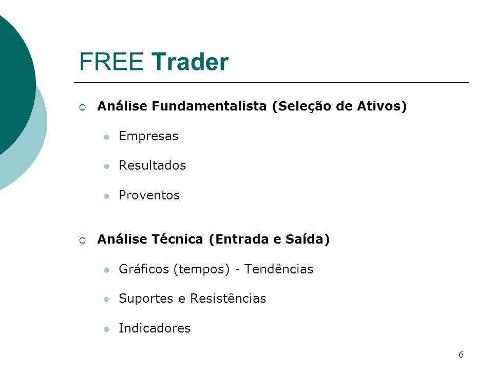 6 FREE Trader  Análise Fundamentalista (Seleção de Ativos) Empresas Resultados Proventos  Análise Técnica (Entrada e Saída) Gráficos (tempos) - Tend