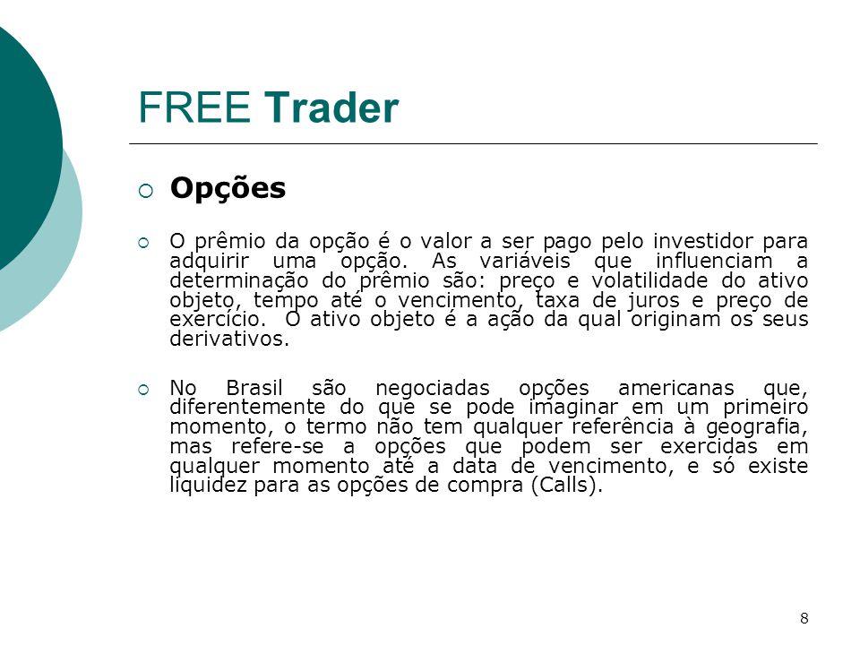 9 FREE Trader  Opções (cont)  O Preço de Exercício é o valor pelo qual a opção pode ser exercida.