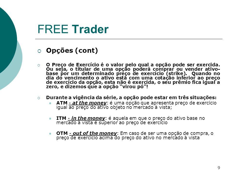 9 FREE Trader  Opções (cont)  O Preço de Exercício é o valor pelo qual a opção pode ser exercida. Ou seja, o titular de uma opção poderá comprar ou