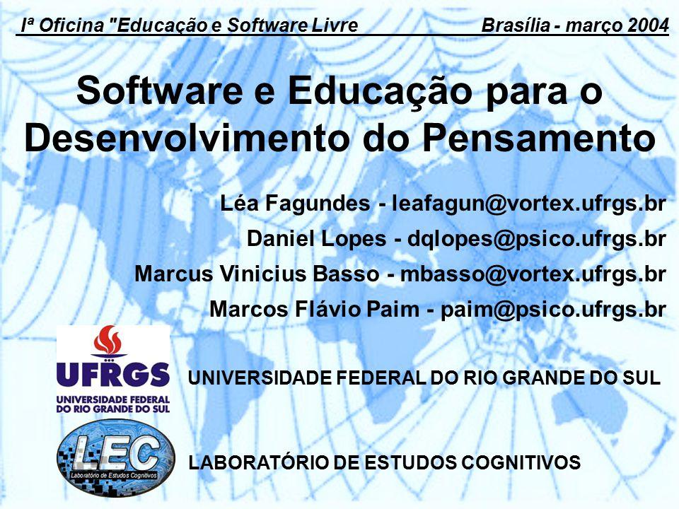 Software e Educação para o Desenvolvimento do Pensamento UNIVERSIDADE FEDERAL DO RIO GRANDE DO SUL Iª Oficina Educação e Software Livre Brasília - março 2004 Léa Fagundes - leafagun@vortex.ufrgs.br Daniel Lopes - dqlopes@psico.ufrgs.br Marcus Vinicius Basso - mbasso@vortex.ufrgs.br Marcos Flávio Paim - paim@psico.ufrgs.br LABORATÓRIO DE ESTUDOS COGNITIVOS