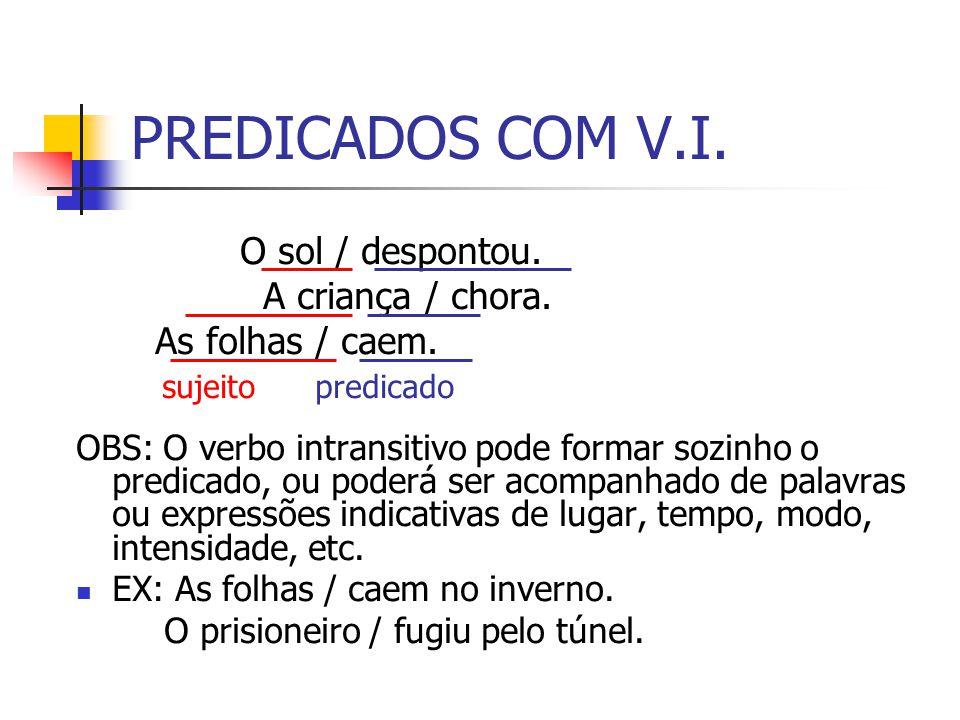 PREDICADOS COM V.I. O sol / despontou. A criança / chora. As folhas / caem. sujeito predicado OBS: O verbo intransitivo pode formar sozinho o predicad