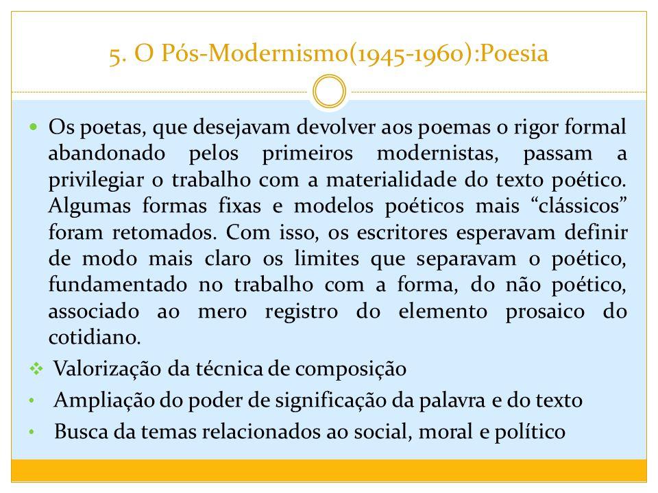 5. O Pós-Modernismo(1945-1960):Poesia Os poetas, que desejavam devolver aos poemas o rigor formal abandonado pelos primeiros modernistas, passam a pri