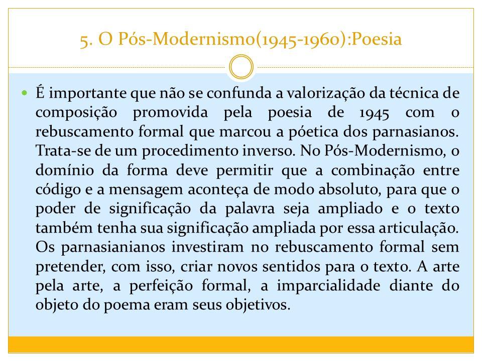 5. O Pós-Modernismo(1945-1960):Poesia É importante que não se confunda a valorização da técnica de composição promovida pela poesia de 1945 com o rebu