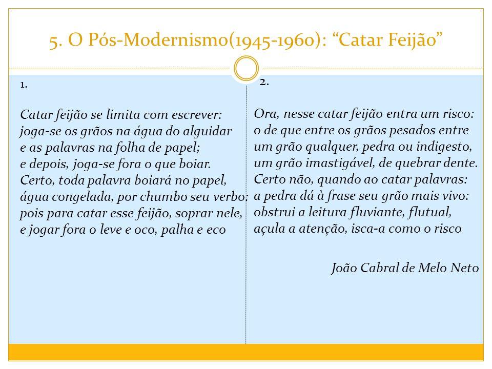 """5. O Pós-Modernismo(1945-1960): """"Catar Feijão"""" 1. Catar feijão se limita com escrever: joga-se os grãos na água do alguidar e as palavras na folha de"""