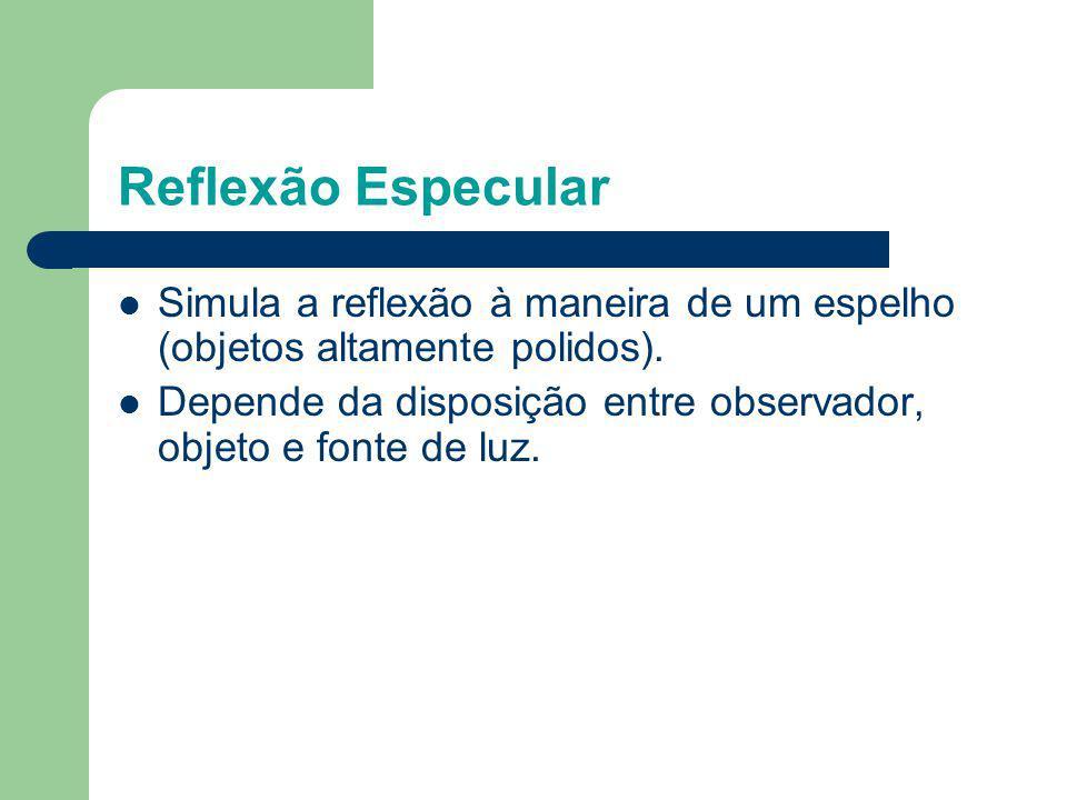 Reflexão Especular Simula a reflexão à maneira de um espelho (objetos altamente polidos). Depende da disposição entre observador, objeto e fonte de lu