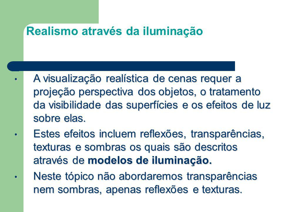 Realismo através da iluminação A visualização realística de cenas requer a projeção perspectiva dos objetos, o tratamento da visibilidade das superfíc
