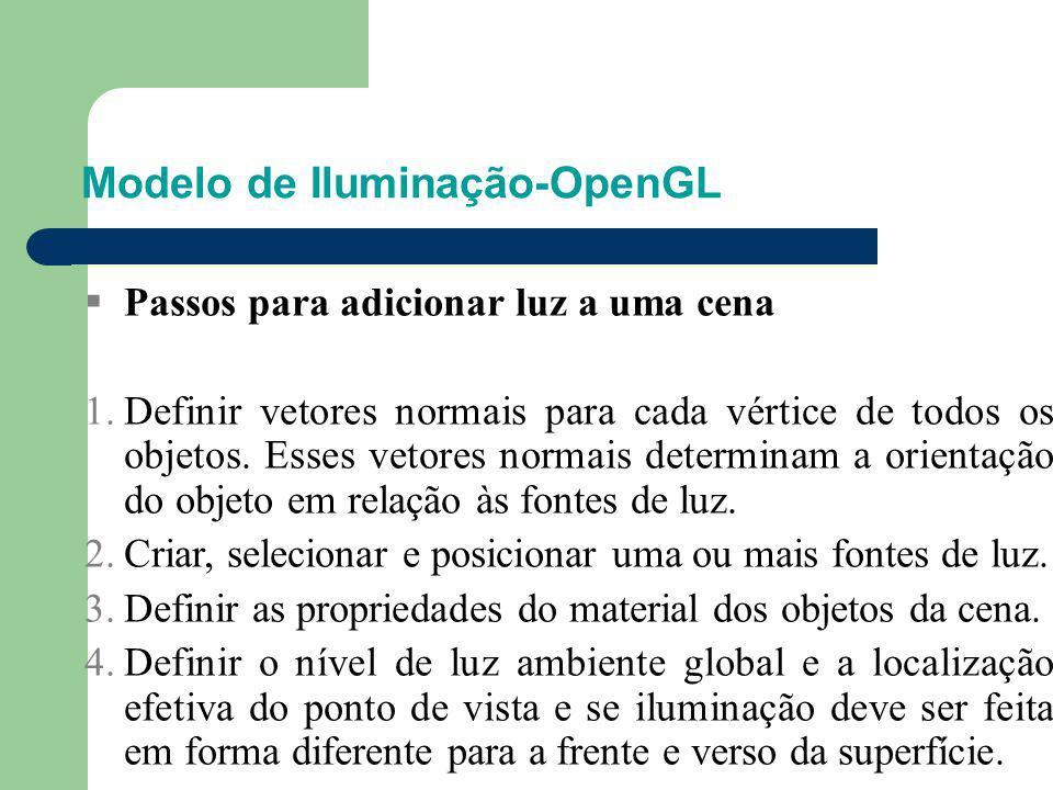 Modelo de Iluminação-OpenGL  Passos para adicionar luz a uma cena 1.Definir vetores normais para cada vértice de todos os objetos. Esses vetores norm