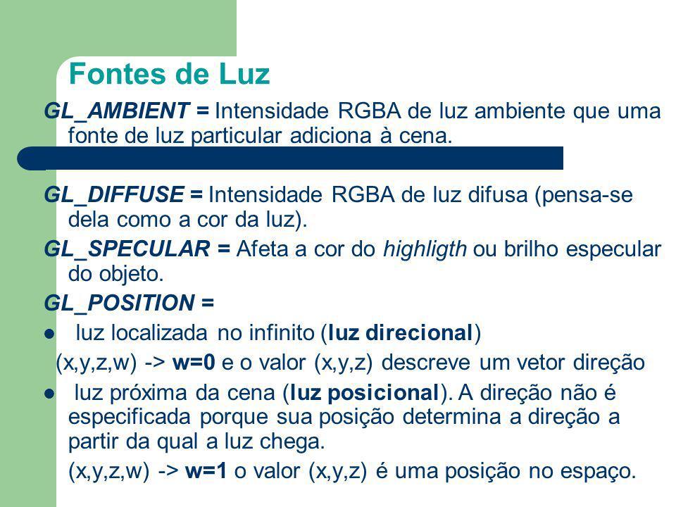 Fontes de Luz GL_AMBIENT = Intensidade RGBA de luz ambiente que uma fonte de luz particular adiciona à cena. GL_DIFFUSE = Intensidade RGBA de luz difu